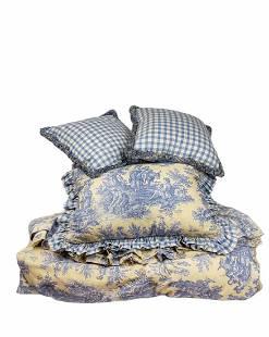 Custom 4 PC Blue Toile Queen Bedding