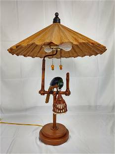 Palm Beach Regency Style Parasol Shade Parrot Lamp