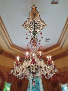 19th C Grand Bohemian Glass Overlay Chandelier