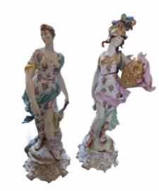 Large Pair of 19th Century Meissen Porcelain Figures