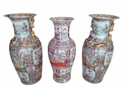 3 Large 19th Century Chinese Rose Medallion Vases