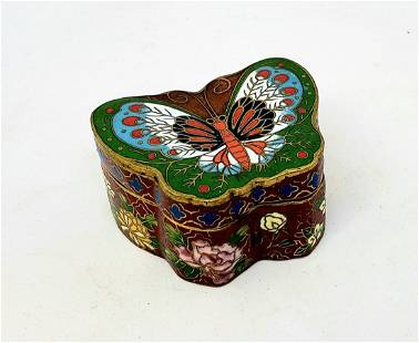 Vintage Chinese Cloisonne Butterfly trinket box.