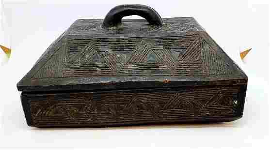Vintage Ebonized Hand-Carved Wooden Box