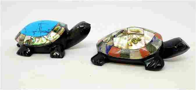 Pair of Vintage Black Onyx Turtles