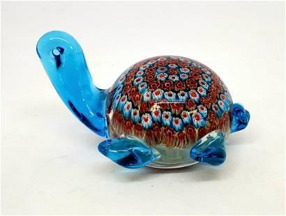 Blue Millefiori Art Glass Sea Turtle
