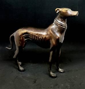 Vintage Mid-Century Bronze Greyhound Figurine