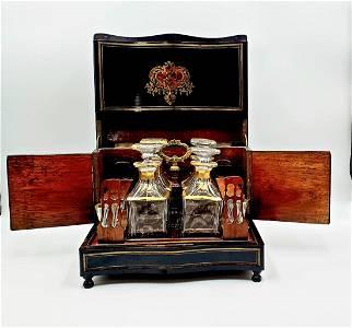 Antique French Tantalus Napoleon III Liquor Cabinet