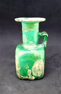 Pate de Verre Style Vase in Opaque Green