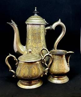 3 Pc Indian Silver Tea Serving Set