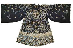 Qing Dynasty - Embroidered Black Dragon Robe
