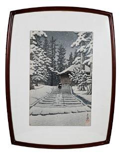 Hasui Kawase Japanese Woodblock Print Of Konjikido