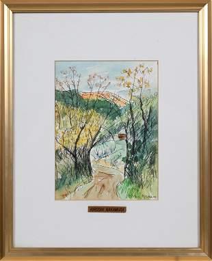 Hiroshi Nakamura Landscape Sketch 1994, Framed