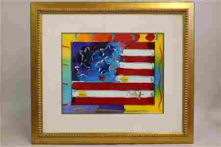 Peter Max - Flag with heart Ver. IV