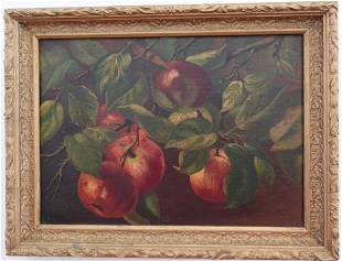 "19th Century ""Red Apple Tree"" Still Life Oil Painting,"