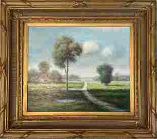 Vintage Mid-Century L. Stepano Oil on Canvas Landscape