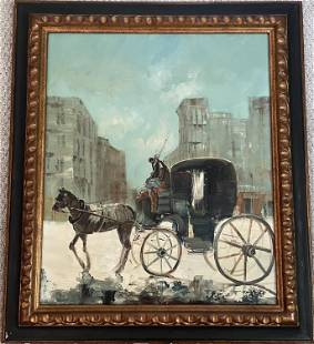 HORSE PULLING A CARRIAGE, OIL PAINTING ON CANVAS