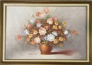 Robert Cox Signed Framed Oil Painting on Canvas Roses
