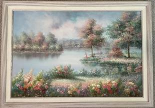 Pink Lady by Lake by Ruppert; Original Oil on Canvas