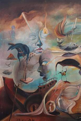 Salvador Dali oil on canvas, stamped-in the style of