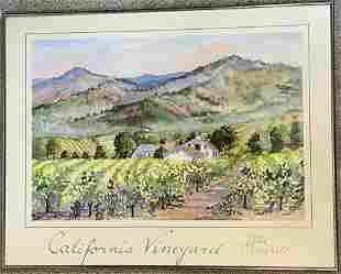 California Vineyard Ellie Marshall Hand Signed Vintage