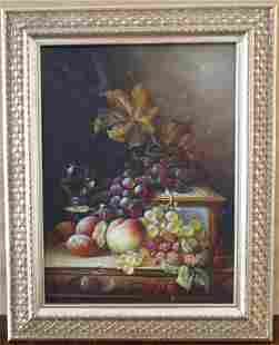 A Fruit Still Life' Ornate Framed Canvas