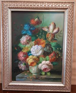 A Still Life of Mixed Flowers in a Vase