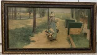 """VINTAGE 1920S ANTIQUE ART DECO FRAMED PRINT """"GIRL"""