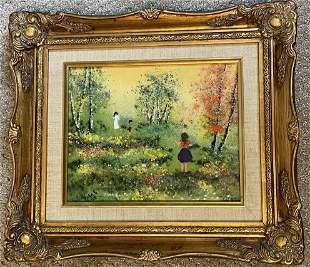 Masterpiece Enamel on Copper Painting kids In Field