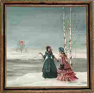 "Vintage Oil on Canvas Painting signed ""Elegant Women"