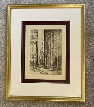 ANTON SCHUTZ LITHO ETCHING NEW YORK CITY NYC WALL