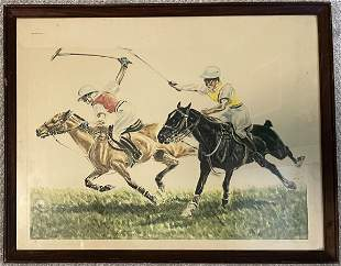 Polo Picture Framed Signed by Louis Claude Paris