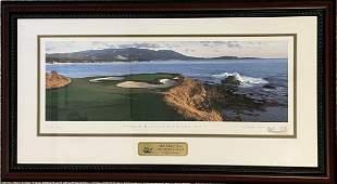 Pebble Beach 16th Hole Framed Golf Art Print
