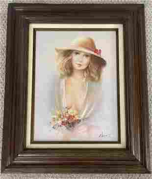 Vintage Female Portrait Original Oil Painting Wood