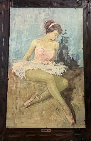 Vintage Original Oil Painting Ballerina by J Pifarre