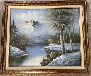 Original oil painting, landscape mountains beautiful