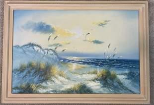 Tranquil Beach Oil on Canvas Framed