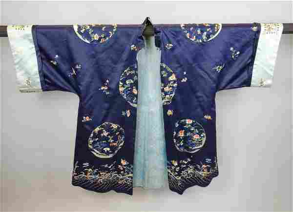 Antique Vintage Chinese Embroidered Silk Kimono Robe