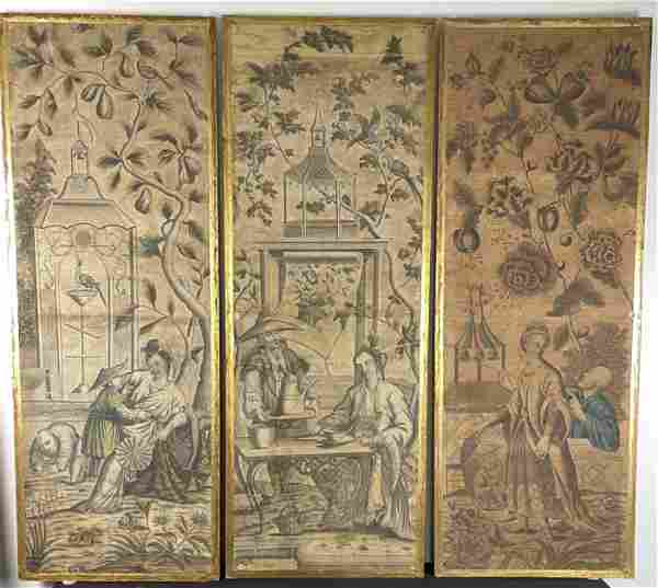 3 Antique 18th c. French Chinoiserie Wall Paper Plaques
