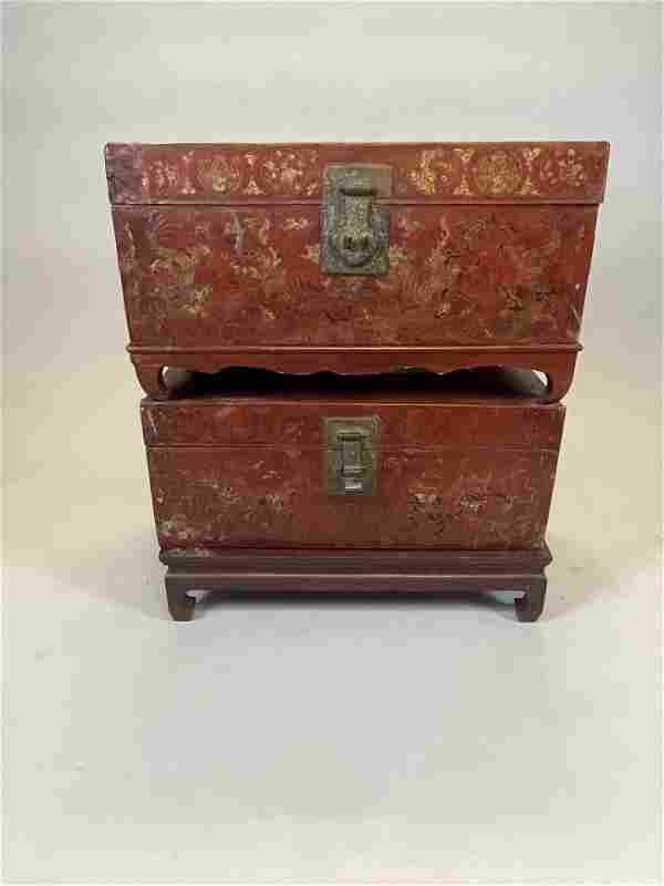 Pair of 19thc Chinese Painted Leather Trunks on Stands