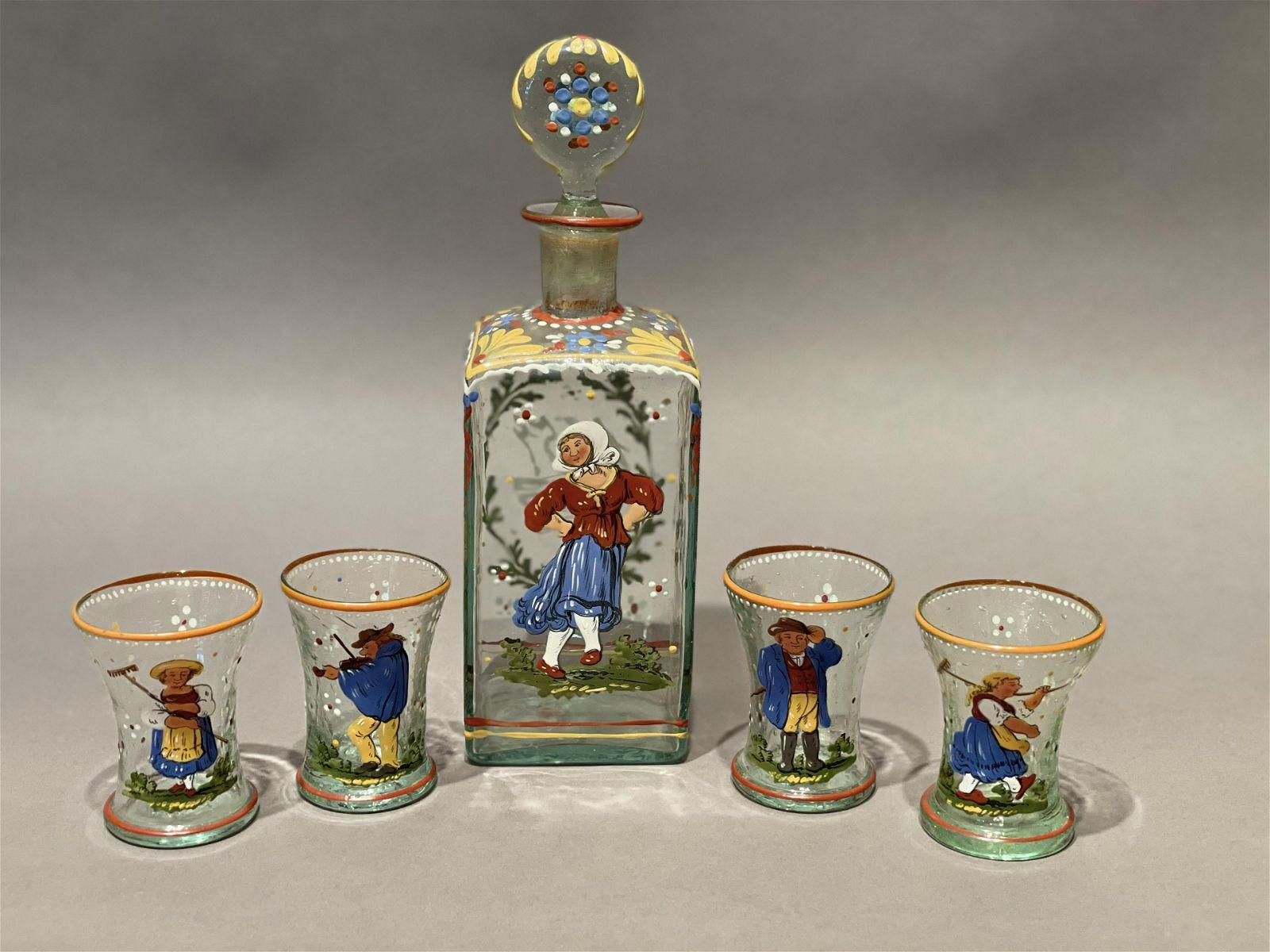 Vintage Enameled Glass Liquor Set