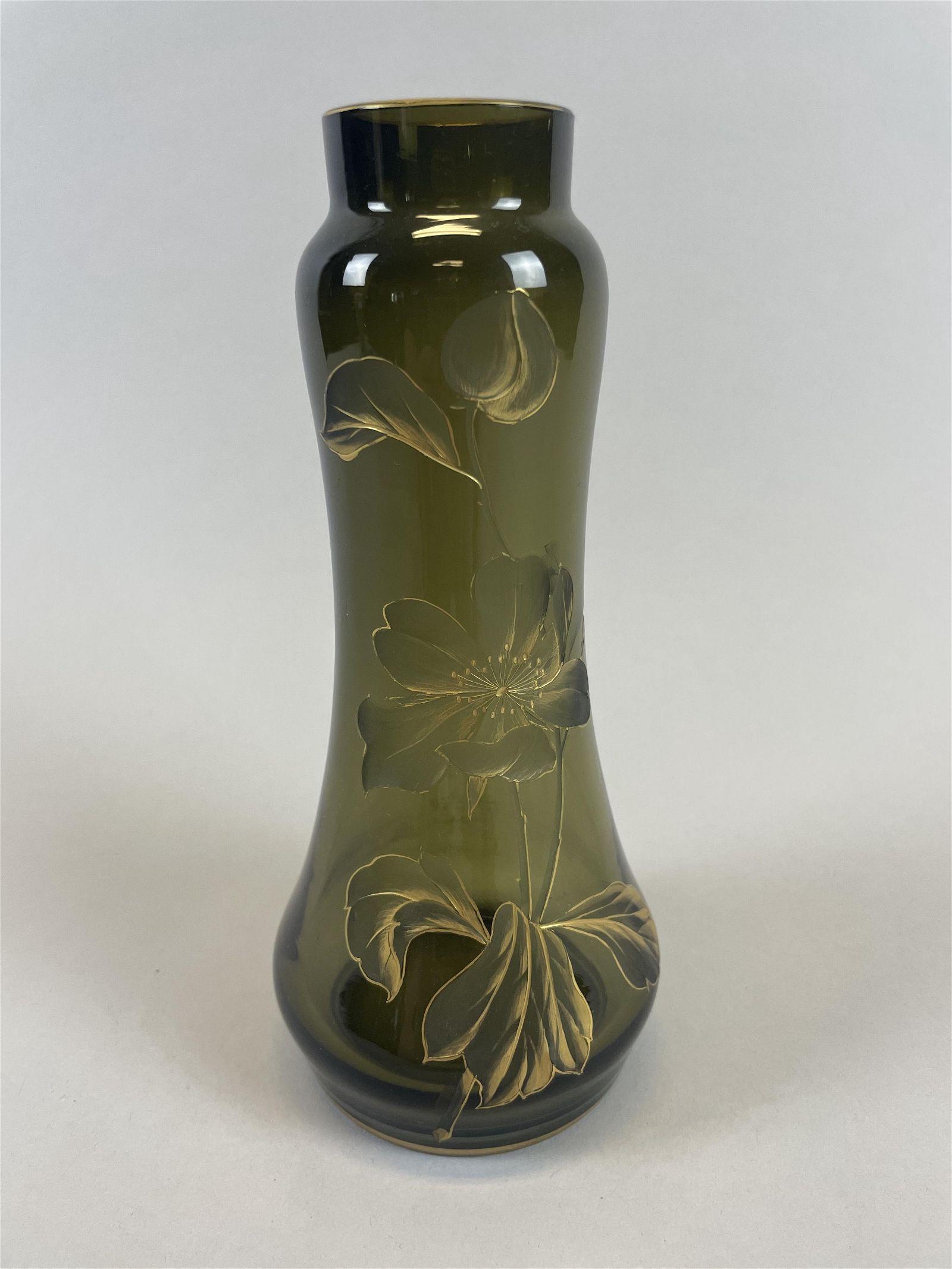 Austrian Art Nouveau Glass Vase, Possibly Moser