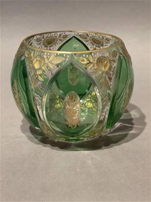 Bohemian Moser Green and Clear Glass Vase