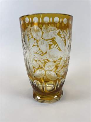 Bohemian Amber and Clear Cased Glass Vase