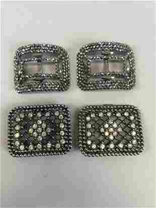 Two Pairs of Antique Cut Steel Decorative Shoe Buckles