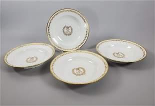 Four Sevres Porcelain Rim Soup Plates, 19thc.