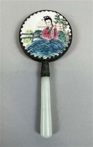 Vintage Chinese Porcelain and Jade Mirror
