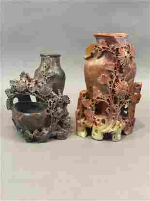 Two Chinese Carved Soapstone Vases