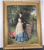 Oil on Canvas, Painting of Lady, Edward Charles Barnes
