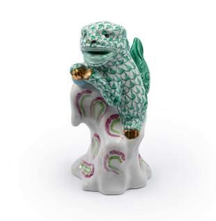 HEREND Hand Painted Porcelain Foo Dog Figurine