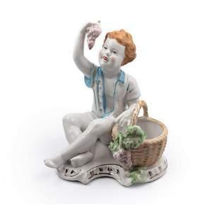 MEISSEN Hand Painted Porcelain Grape Eater Boy Figurine